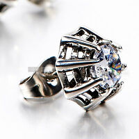 silver stud stainless steel crystal SINGLE vintage style earring .75ct