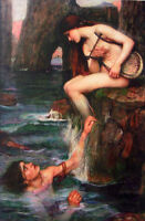 """Art Oil painting J. W. Waterhouse - The Siren A nice Mermaid with young man 36"""""""