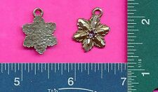 lead free pewter flower pendant with a purple stone 4068-3