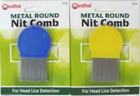 NEW METAL ROUND NIT HAIR GRITTY COMB HANDLE REMOVES HEAD LICE EGGS FINE TOOTHED