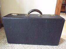 Antique Vintage Black Suitcase Travel Trunk Brown Leather Handle Magicians Case