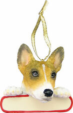 "Basenji Ornament ""Santa's Pals"" With Personalizable Name Plate"