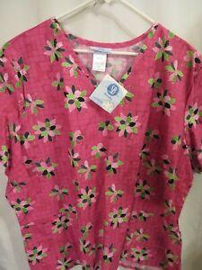 New 3 XL/3XG  100% Cotton Hospital Medical SB Ruby Blossoms Print TOP