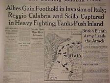 VINTAGE NEWSPAPER HEADLINE ~WORLD WAR 2 ALLIES INVASION ITALY NAZI BATTLE WWII~