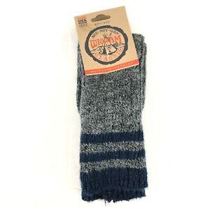 Wigwam Unisex Crew Socks Blue Gray Stripe Marled W 6-10 M 5-9.5