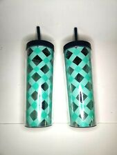 Tumbler Blue Argyle Cup with Lid and Straw For Water BPA Free 2 Pcs New