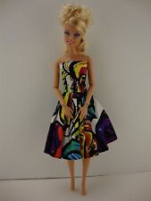 Bright and Colorful Cocktail Gown Made to Fit Barbie Doll