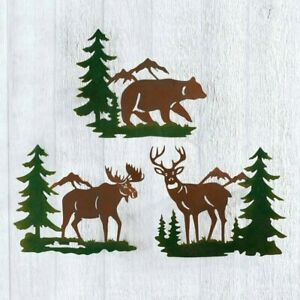 Set of 3 Deer Bear Moose Wall Art Metal Hanging Sculpture Rustic Cabin Log Decor