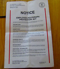 RARE vintage 1988 U.S Dept of Labor EMPLYOEE POLYGRAPH PROTECTION poster NOTICE
