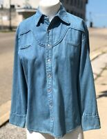 Vintage Scully Mens 100% Cotton Denim Blue Jean Western Pearl Snap Front Shirt S