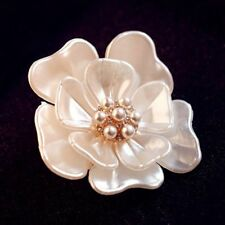 Vintage Camellia Flower Pearl Crystal Bridal Brooch Pin Jewelry Wedding Gifts