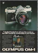 1980 OLYMPUS Camera advertisement, OM-1 ad, Mr Maitani, camera designer