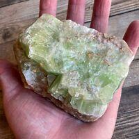 "Green Calcite: 3.8"" Long 1 lb 0.7 oz (474 g) Mexican Raw Stone Rough Mineral"