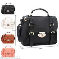 Womens Office Work Faux Leather Buckle Strap Satchel Handle Shoulder Handbag Bag