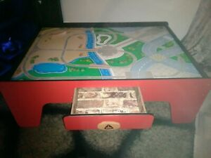 Activity Table by Elc Wooden Train and car activity Table Reversible,