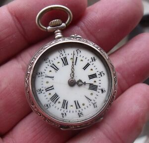 SMALL LADIES SILVER & GOLD PLATED EDGE POCKET FOB WATCH.