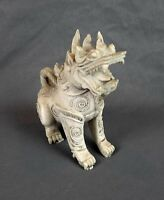 "Vintage Porcelain Khmer Foo Dog Lion Singha Dragon Statue 5"" Tall White"