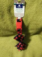 Top Paw Christmas Red & Blue Checks With Bow Tie Dog Collar Size Small NEW Tags