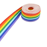 3 Meters Polyester Rainbow Striped Ribbon Trim Woven Grosgrain DIY Sewing Crafts