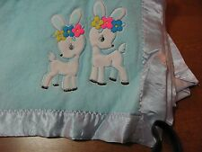 "VINTAGE  BABY BLANKET nylon acr 40x34"" turquoise blue white deer flowers retro"