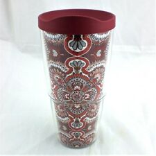 Tervis 24 oz Fiesta Red Rio Harvest Tumbler NEW w Maroon No Spill Travel Lid