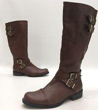 M2 by Miz Mooz Womens Brown Man Made Upper Buckle Knee High Riding Boots Size 8