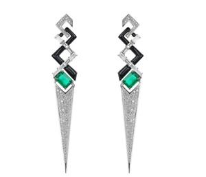 Geometric V Shape Green 3.32CT Emerald & 3.02CT White CZ & Black Enamel Earring