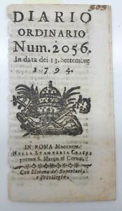 Viterbo Diario ordinario numero 2056 13 settembre 1794 Stamperia Cracas