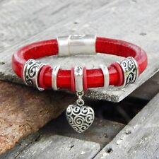 Genuine Leather Bracelet-Red Licorice Leather-HEART Slider Charm
