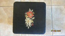 Vintage Black floral needlepoint small footstool 10x10x8 inches Queen Anne style