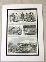1856 Antico Stampa Africa Sierra Leone Freetown Landscape West African