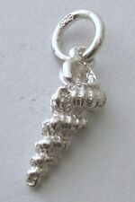 GENUINE SOLID 925 STERLING SILVER 3D LONG SEA SHELL Charm/Pendant