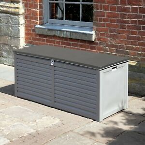 490L PP Outdoor Grey  Garden Storage Box With 2 Gas Lifts