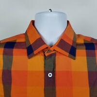Bugatchi Uomo Shaped Fit Orange Blue Windowpane Check Mens Dress Shirt Sz Large