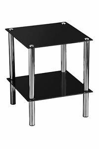 End Table,2 Tier Black Glass,Chrome Finish Legs - Big Living