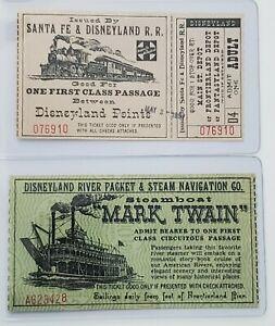 1957 Adult Sante Fe & Disneyland R.R. Ticket plus Mark Twain Steamboat Ticket