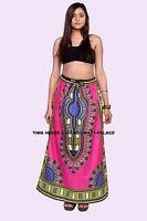Women Wrap Skirt African Dashiki Print Party Long Skirt Dress Skater Pink Skirt