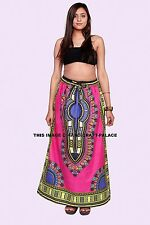 Women Wrap Skirt African Dashiki Print Party Long Skirt Dress Skater Pink Skirt