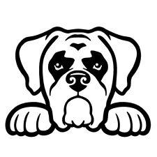 "BOXER DOG PEEKING V1 (5"" BLACK) Vinyl Decal Window Sticker"