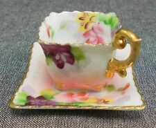 Occupied Japan Footed Tea Cup And Saucer Pink Floral Flowers Trimmed In Gold