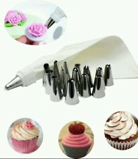 PROFESSIONAL♡14 ICING Piping Steel Nozzles+Cotton Icing Bag Decoration♡kek♡set