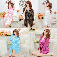 Lady Women's Fashional Silk Satin Sleepwear Lace Gown Bath Robe Nightwear Dress