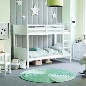 Gemini Bunk Bed Single 3 ft Solid Pine Wood Frame Bedroom Furniture Kids White