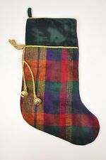 "Knit STOCKING Bells Green Multi-Color Striped 18"" Christmas Holiday Velour plaid"
