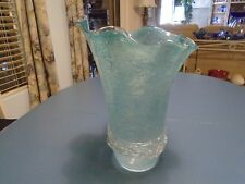 Art Glass Mid Century Light Blue Large Vase