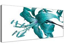 Teal Large Canvas Art of Lily Flowers  - 120cm x 50cm - 1054