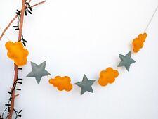 Handmade Mustard Clouds Grey Stars Felt Home Wedding Nursery Bunting Garland