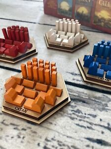 New Settlers of Catan Game Piece Holders, Set Of 4 Fits In Original Game Box