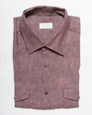 Brioni $800 Purple Snap Front Western Tailored Fit Linen S/S Shirt IV 17 43 eu
