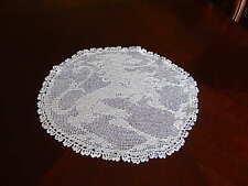 "CROCHET DOILY CENTER PIECE WINTER WHITE Handmade wedding decor 16""x14.5""Fine VTG"
